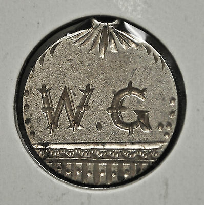 "Canadian Victorian 10 cent - Love Token - ""W.G."""