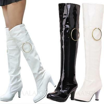Womens ladies mens Pole Dance high heels shoes Fetish Sexy Wet Look Boots Size