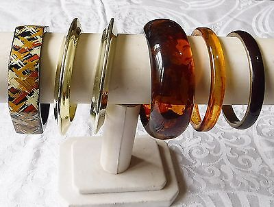 Vintage Retro Lucite Plastic Browns Gold Multi Bangle Collection 6 Stylish Chic
