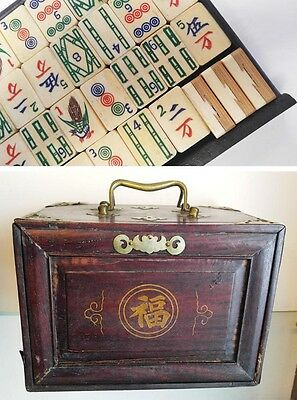 Mah Jong Complete 144 Fancy Thick Bone & Bamboo Tiles + Brass Bound Case C-1890