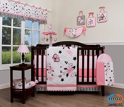 New Pink Butterfly Baby CRIB BEDDING SET 14PCS Including Mobile