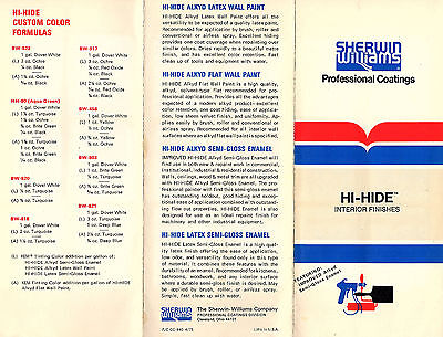 Sherwin Williams H-Hide Interior Finishes Paint 1975 Brochure & Color Chart