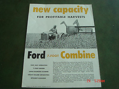 VINTAGE 1957 FORD DEARBORN COMBINE 7- FOOT TRACTOR BROCHURE PAMPHLET Catalog 27