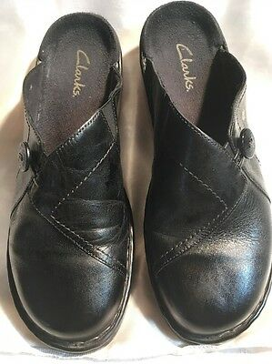 Clarks Women's Black Leather Backless Slip On's Shoes Size 9
