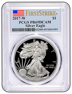 2017 W $1 Proof American Silver Eagle 1oz PCGS PR69DCAM First Strike