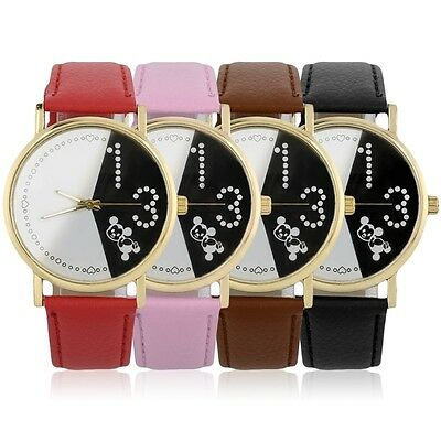 Women Girls Simple Quartz WristWatches Cute Mouse PU Leather Watch Gift AK