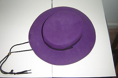 Vintage Purple 100% Wool Bolero Gaucho Hat By Arlin