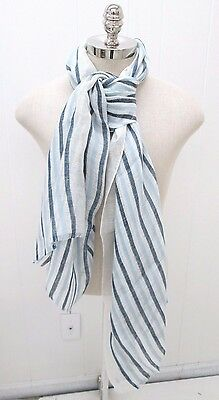Pelius Mens Light Blue And Navy Large Tonal Striped Scarf One Size