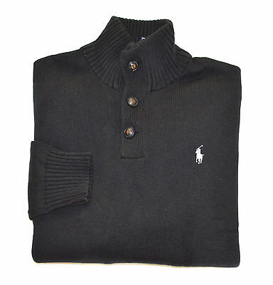 New Men's Polo Ralph Lauren 3 Buttons Pullover Sweater Black, L, Large