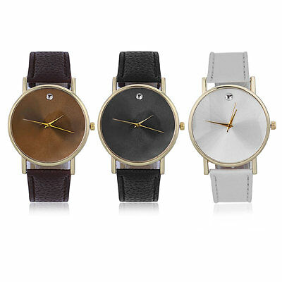 New Fashion No Number Minimalism Leather Band Round Quartz Wrist Watch AK
