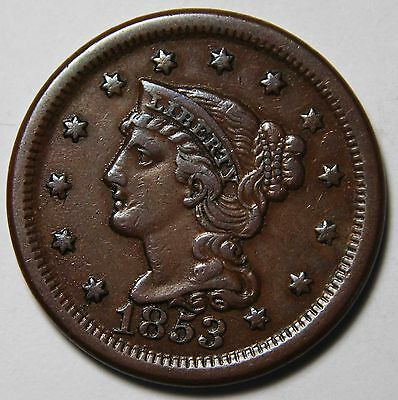 1853 Large Cent Liberty Braided Hair Head Coin Lot # MZ 4307