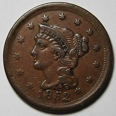 1852 Large Cent Liberty Braided Hair Head Coin Lot # MZ 4308