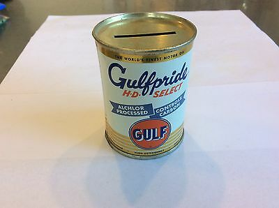 1950's Gulfpride Motor Oil Can Bank HD Select 3""