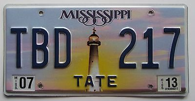 Mississippi 2013 TATE COUNTY LIGHTHOUSE License Plate NICE # TBD 217