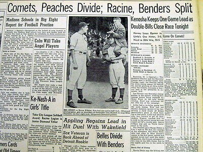 1943 KENOSHA Wisconsin newspaper ALL AMERICAN GIRLS PROFESSIONAL BASEBALL LEAGUE