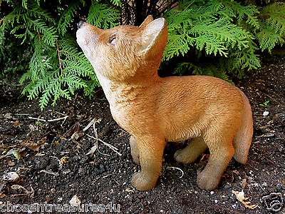8.75  INCH FOX STANDING FIGURINE resin animal Statue  COUNTRYSIDE SMART FOXY RED