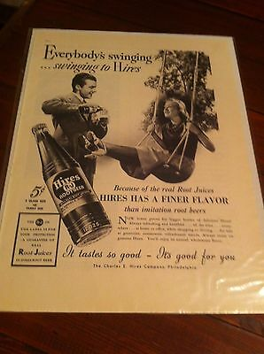 Vintage 1937 Hires Root Beer Singing To Hires Pretty Girl In Swing ad