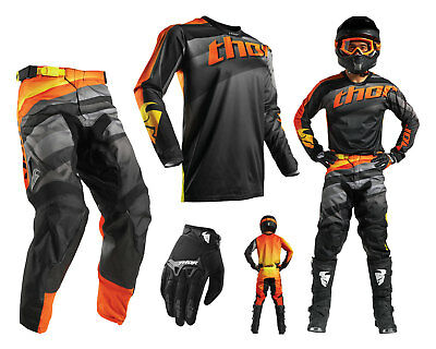 Thor Pulse Velow Motocross Combo mit Crosshose Jersey Handschuhe schwarz orange