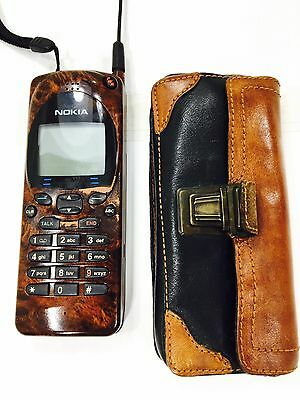 Vintage Nokia Cell Phone 2190 Wood Grain W/Leather Case Untested Decorative Prop