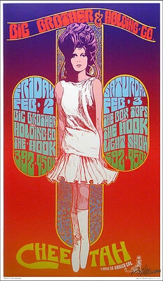 Big Brother Poster Cheetah Club Venice 1968 Nice Repro Hand Signed by Bob Masse