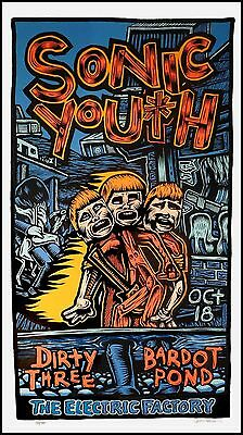 Sonic Youth Poster Electric Factory Orig 1995 Silkscreen Signed by John Howard