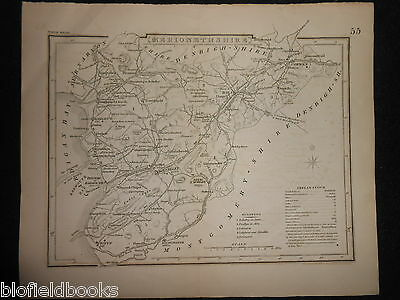 Original Antique Map of Merionethshire (North Wales)  c1850s - Welsh/Dolgelley