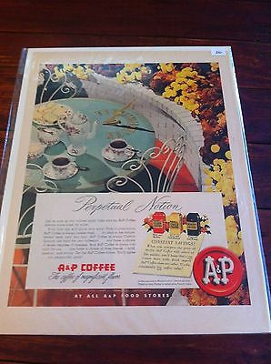 Vintage 1951 A & P Coffee Perpetual Notion Sundial Coffee ad