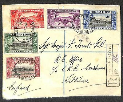 Sierra Leone To England Scott #173-177 Stamps Registered Fdc Cover 1938