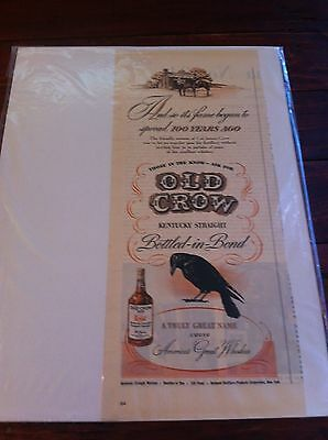Vintage 1946 Old Crow Traveler Passes By Distillery Whiskey ad