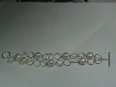 10 MM Sterling Silver Links Double Row & 10 MM Pearl (s) Bracelet w Toggle Clasp