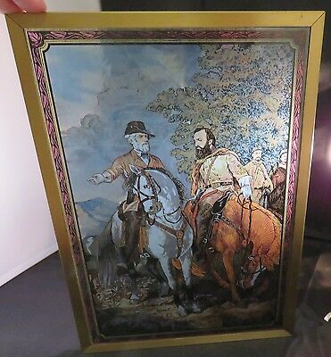 Vintage Robert E. Lee & Stonewall Jackson Glassworks Painted Glass Picture