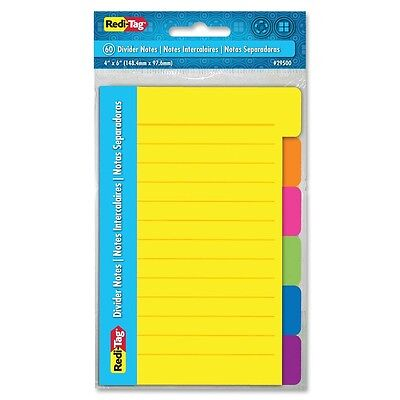 Redi-Tag 4x6 Sticky Ruled Divider Notes - Self-adhesive, Removable, Assorted