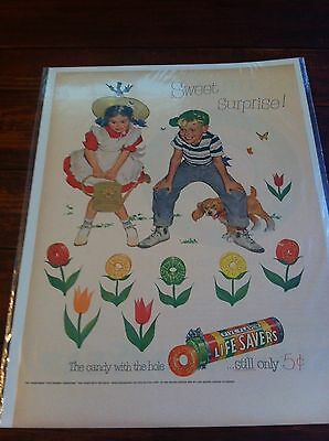 Vintage 1952 Life Savers Candy Flower Garden Cute Kids With Dog ad