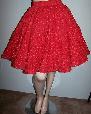 RED SQUARE DANCE SKIRT Sz S 3-Tier Cotton Elastic-Waist MALCO MODES Full Circle