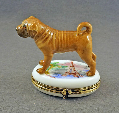 New French Limoges Trinket Box Cute Shar Pei Dog Puppy In Paris At Eiffel Tower
