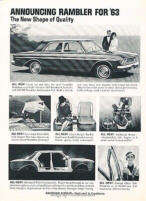1963 Rambler Classic Six - Original Advertisement Print Art Car Ad J616