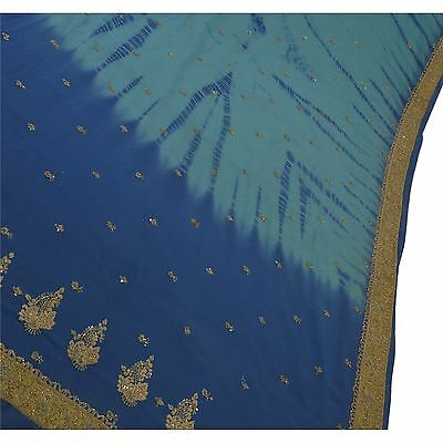 Sanskriti Antique Vintage Indian Saree Georgette Hand Embroidery Fabric Blue