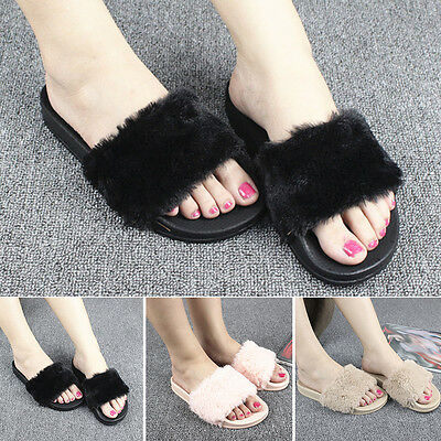 New Women House Home Flat Anti-slip Slippers Indoor Soft Plush Open Toe Shoes