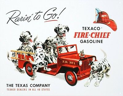 Vintage Texaco Gasoline Rarin To Go Fire Chief Tin Sign 13 x 16in