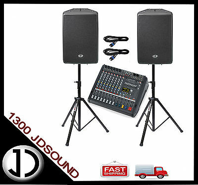 Dynacord PM600-3 powered mixer + D12 speakers + stands and cables NEW