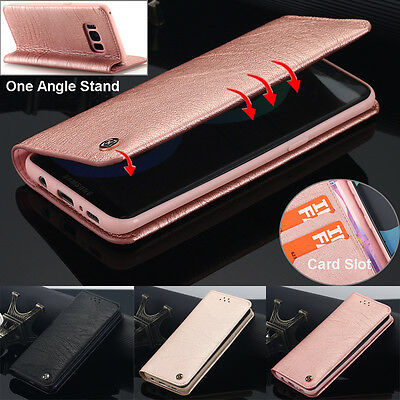 Samsung Galaxy S8 Plus Genuine Leather Case Card Holder Wallet Stand TPU Cover