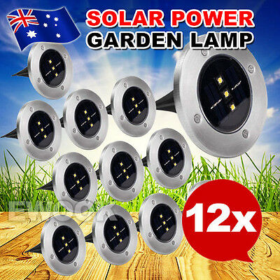 12X Solar Powered LED Buried Inground Recessed Light Outdoor Garden Deck Path AU