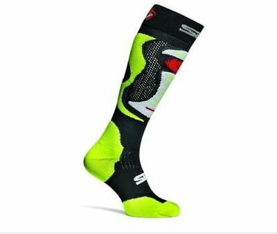 Sidi Faenza Motorcycle Motorbike Long Race Boot Tech Socks - Black/Yellow