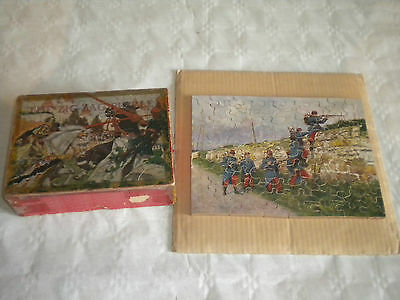 Vintage 1920s Zig Zag Cut Jigsaw Puzzle French Soldiers complete