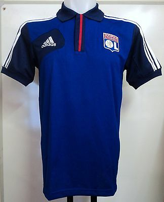 Olympic Lyon Blue/navy Polo Shirt By Adidas Adults Size 44/46 Inch Chest Bnwt