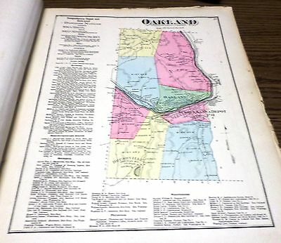 Original 1872 Map Town  Of Oakland  Pa Susquehanna County Residents Listed