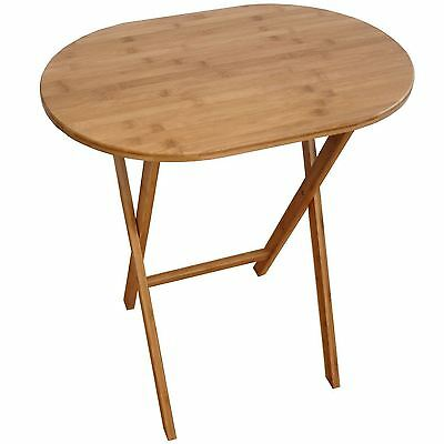 TV Lunch Dinner Side End Folding Table Foldable Plant Stand Natural Bamboo