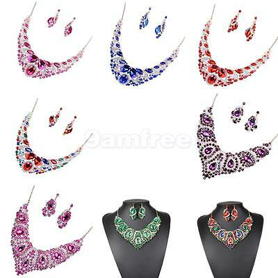 Fancy Colorful Crystal Earrings Necklace Wedding Party Bridal Jewelry Sets