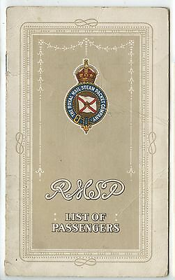 Old 1922 Royal Mail Steam Packet R.M.S.P Chaudiere Passenger List
