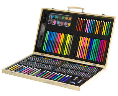 Portable 180-Piece Art Set w/ Wooden Carry Case